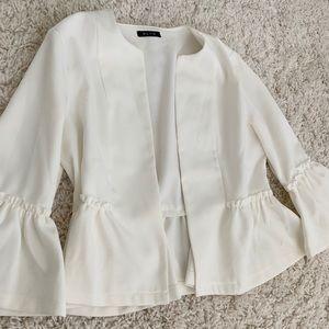Peplum sleeve white blazer